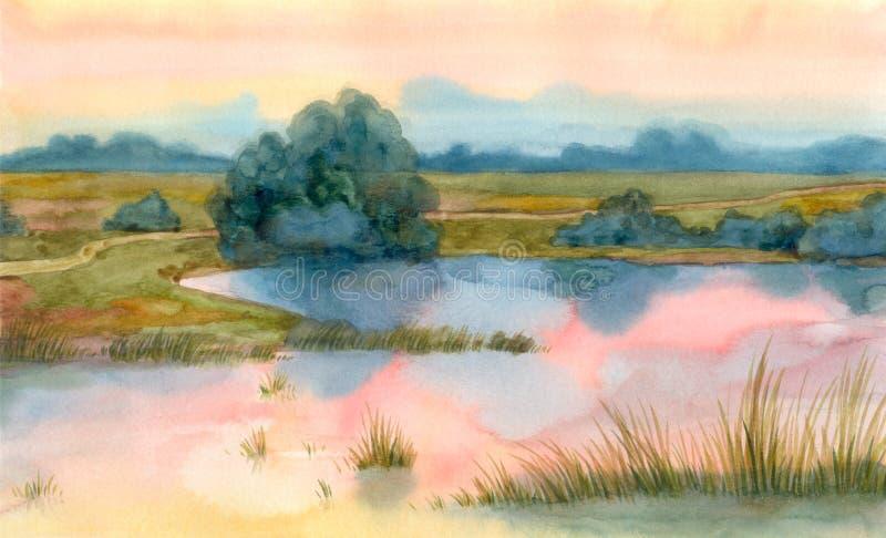 Ranek mgła nad lata jeziorem ilustracja wektor