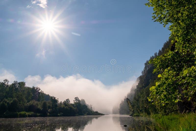 Ranek mgła nad rzeką w górach i słońce Natura dla projekta fotografii tapeta dla desktop komputer lub zdjęcia royalty free