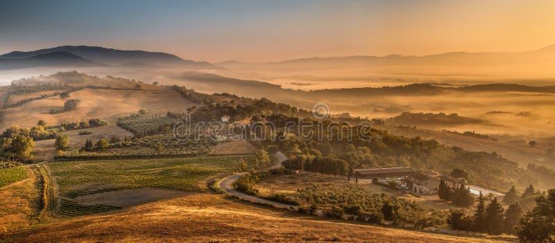 Ranek mgła nad Toskańskim krajem, Włochy fotografia royalty free