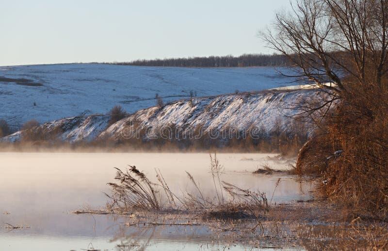 Ranek mgła nad wiosny rzeką Środkowy Rosja Don obraz royalty free