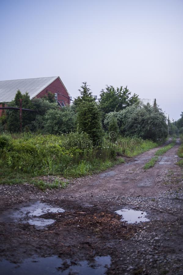 Ranek mgła Zaniechanego Indiana wojska Amunicyjna zajezdnia - Indiana - woda Suchy dom - zdjęcie stock