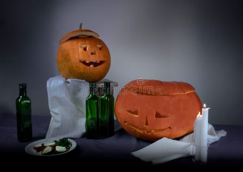 Ranek po wakacje Halloweenowa dyniowa śniadanie przestrzeń dla teksta obraz stock