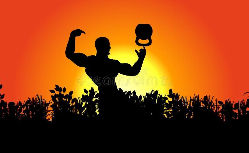Ranek postać pozuje bodybuilder, atleta pokazuje jego sztuczkę i mięśnie balansowy kettlebell Naturalny krajobraz, wschód słońca royalty ilustracja