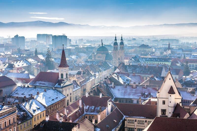 Ranek w Sibiu, Rumunia w sercu Transylvania HDR Pho obraz stock