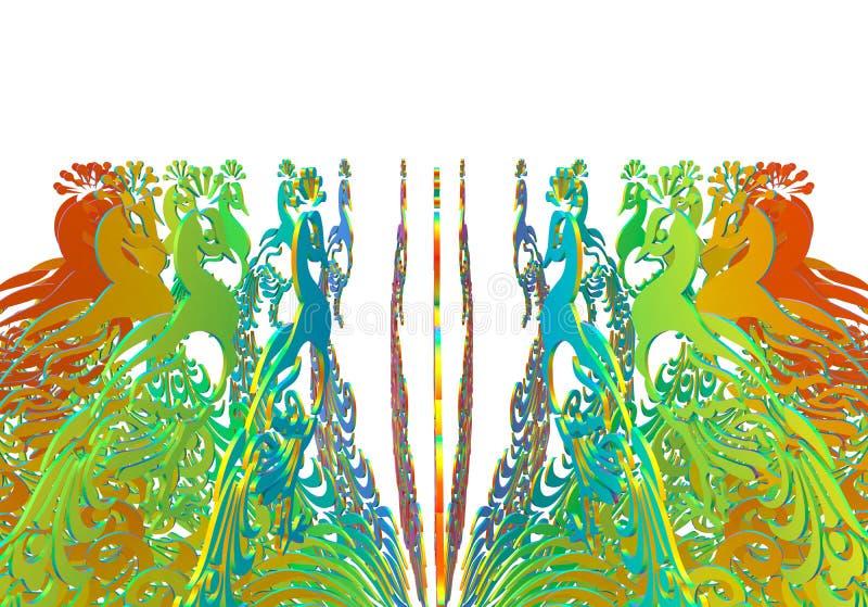 Rangée circulaire de paons illustration stock