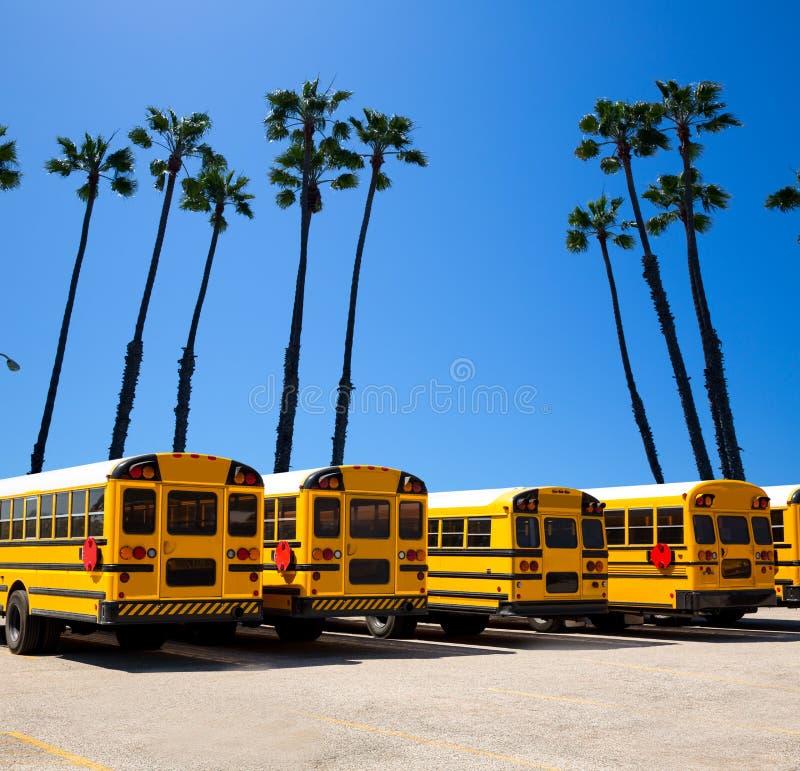 Rangée d'autobus scolaire avec le bâti de photo de palmiers de la Californie photo stock