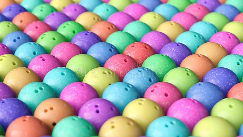 Rangée de boules de bowling colorées étroitement emballées illustration stock