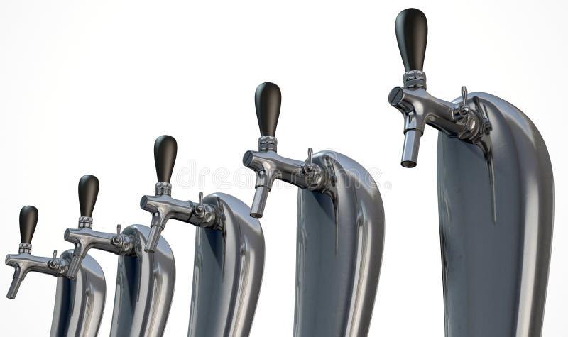 Rangée de robinet de bière d'isolement illustration stock