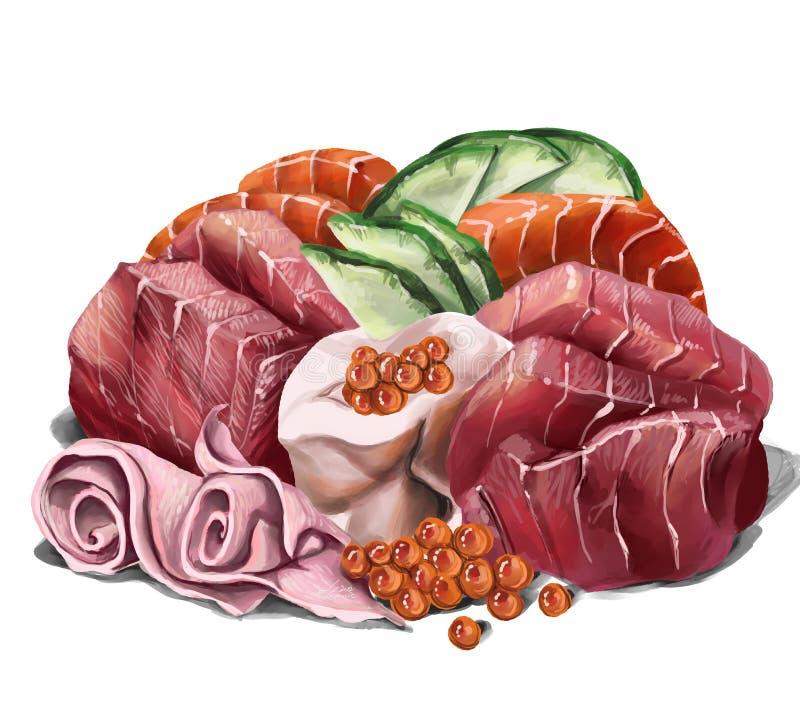 Rangée de sashimi comprenant le thon et les saumons, avec du gingembre et le caviar marinés illustration de vecteur