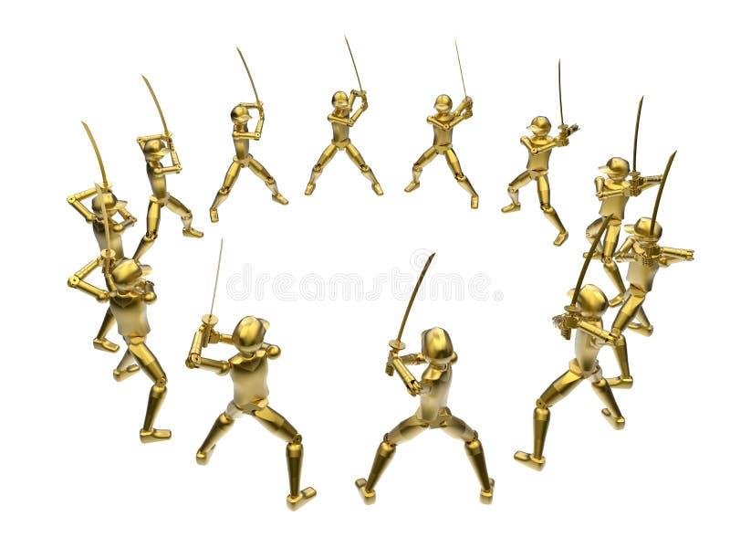 Rangée debout d'or d'épéiste illustration libre de droits