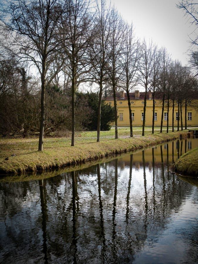 Rangée des arbres à côté d'un petit canal photos stock