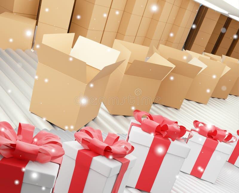Rangée des cadeaux de Noël et des boîtes de la livraison sur la bande de conveyeur 3d-illustration illustration de vecteur