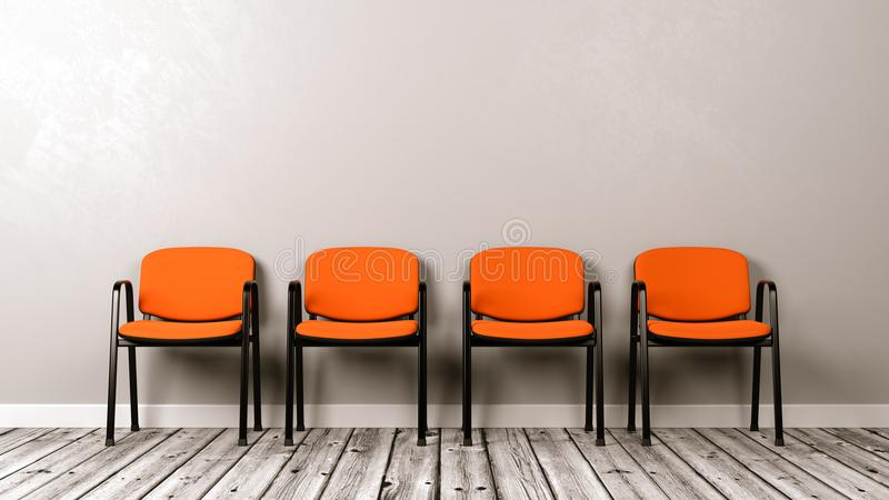 Rangée des chaises sur le plancher en bois contre le mur illustration stock