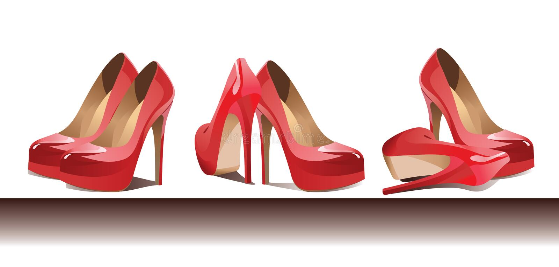 Rangée des chaussures femelles rouges Vecteur illustration libre de droits