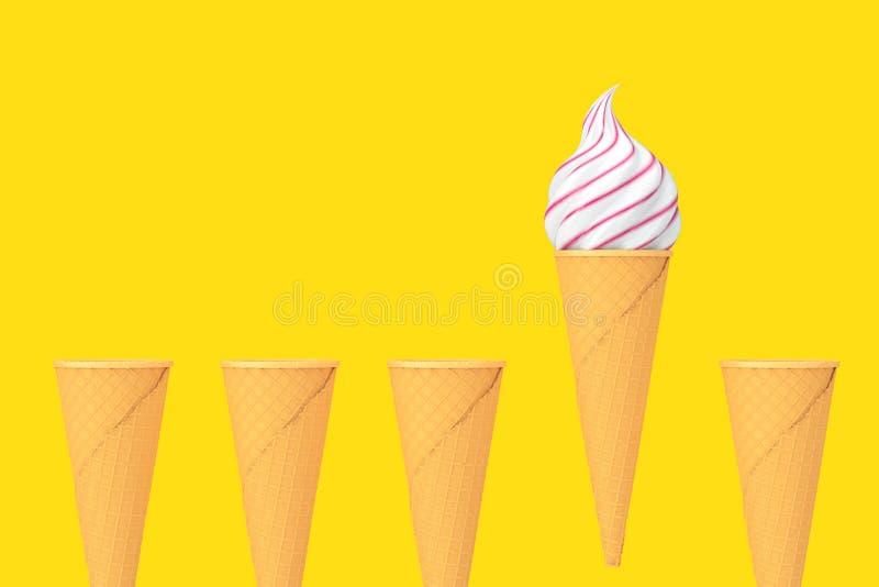 Rangée des cornets de crème glacée croustillants de gaufre vide et d'un cône avec la crème glacée molle de service rendu 3d illustration de vecteur
