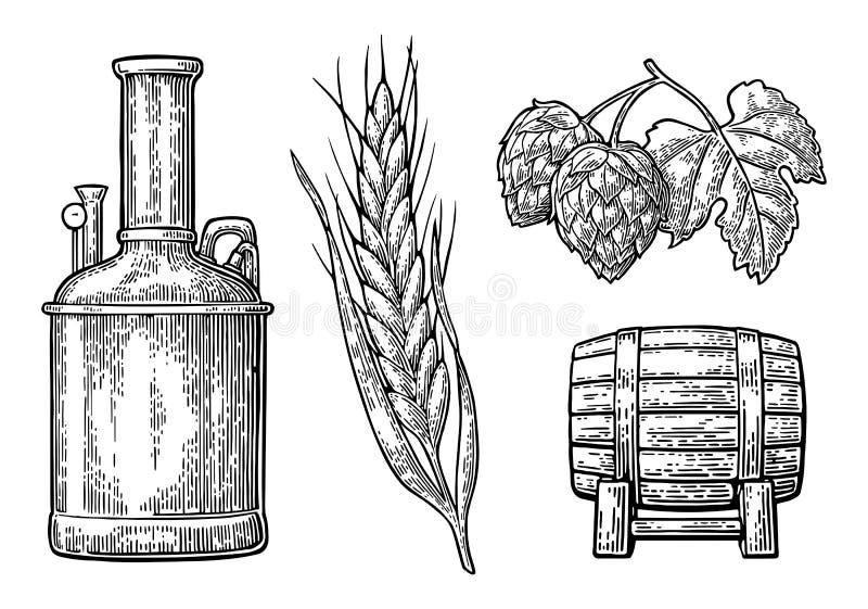 Rangée des réservoirs, branche d'houblon avec la feuille, oreille d'orge et baril en bois illustration libre de droits