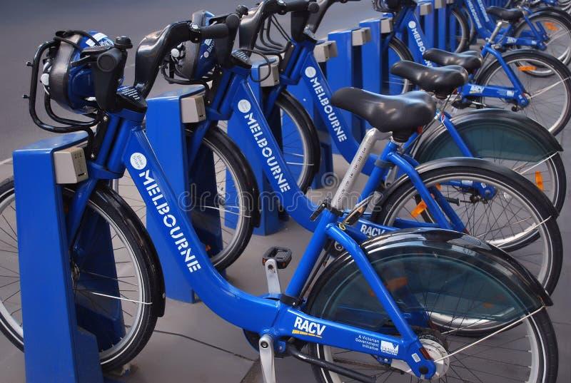Rangée des vélos de part de Melbourne photographie stock libre de droits
