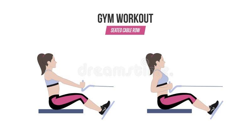 Rangée posée de câble Exercices sportifs Exercices dans un gymnase workout Illustration d'un vecteur actif de mode de vie illustration de vecteur
