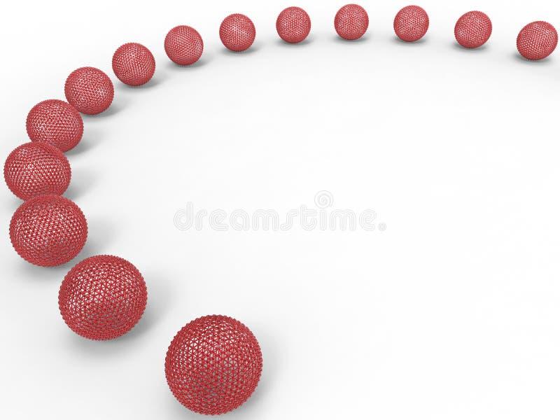 Rangée rouge de sphères de maille illustration stock
