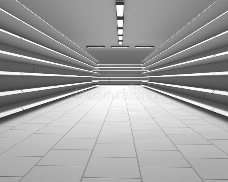 Rangées blanches vides d'étagère de supermarché illustration libre de droits