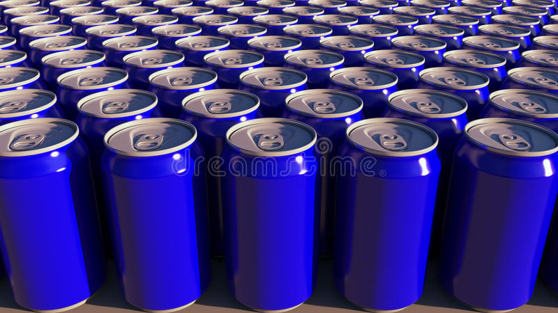 Rangées des boîtes en aluminium bleues à l'usine Boissons non alcoolisées ou production de bière Emballage de réutilisation moder illustration de vecteur