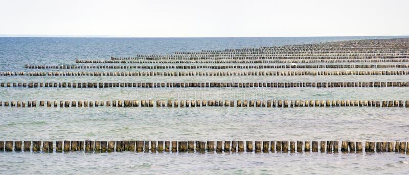Rangées des enjeux en bois de brise-lames photo libre de droits