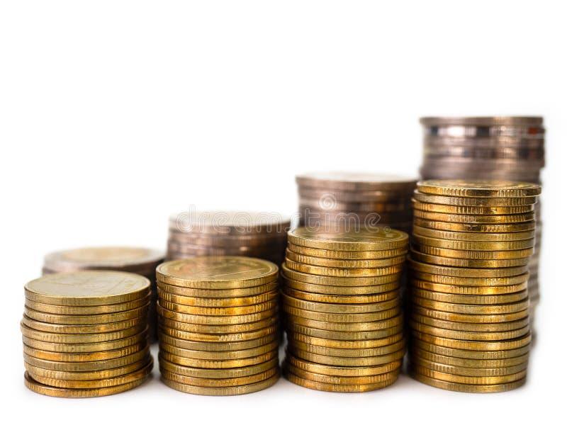 Rangées des pièces de monnaie, affaires pour le concept de finances et d'opérations bancaires photographie stock libre de droits