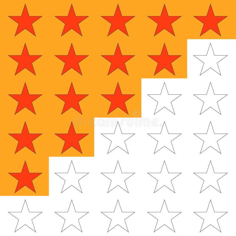 Rang, étoiles de l'estimation cinq, pour se ranger illustration de vecteur