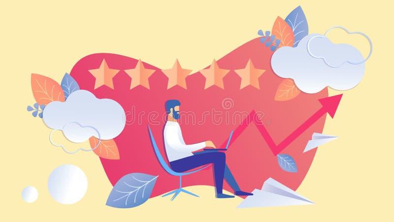 Rang de cinq étoiles, illustration de couleur plate d'évaluation illustration stock