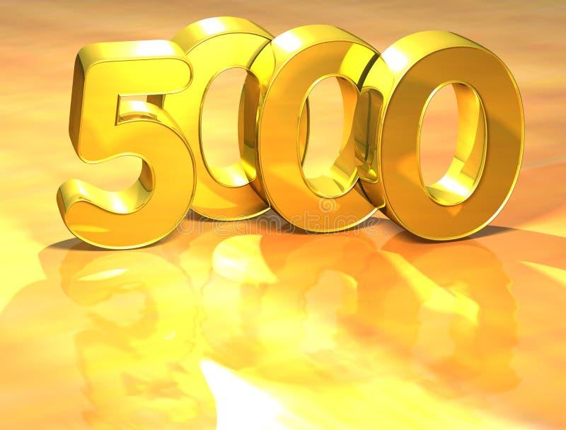 rang de l'or 3D numéro 5000 sur le fond blanc illustration de vecteur