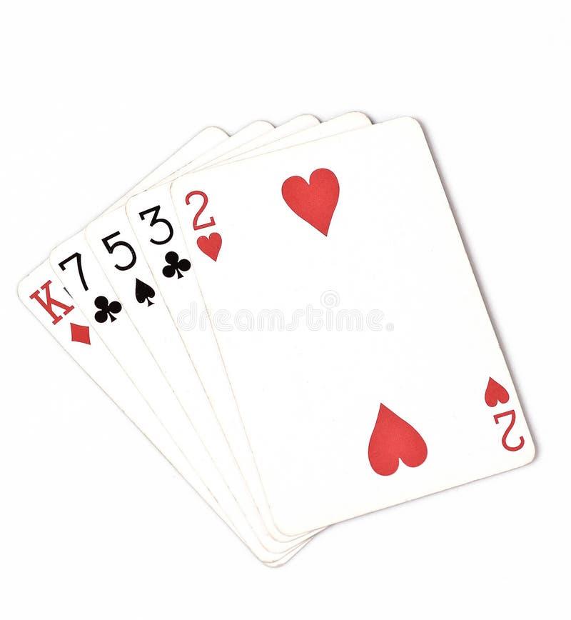 Rang för pokerhand, symboluppsättning som spelar kort i kasino: höjdhand, konung, sju, fem, tre, två på vit bakgrund, lyckaabstra royaltyfri bild