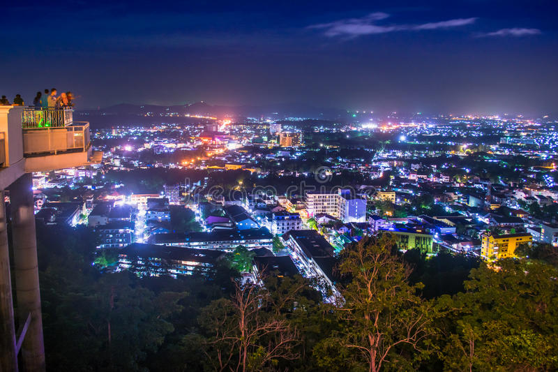 Rang hill vew point. Rang hill View point kaoRang Phuket in the Night time stock photo