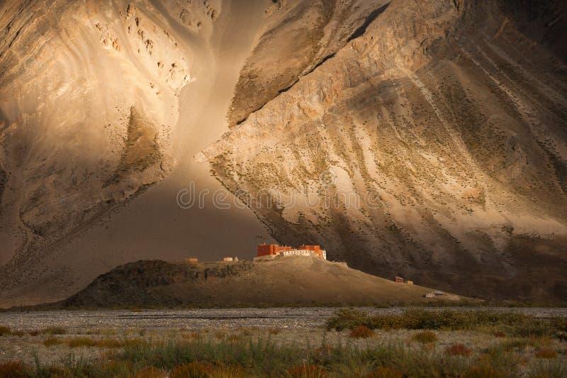 Rangdum Monastery at sunset royalty free stock photography