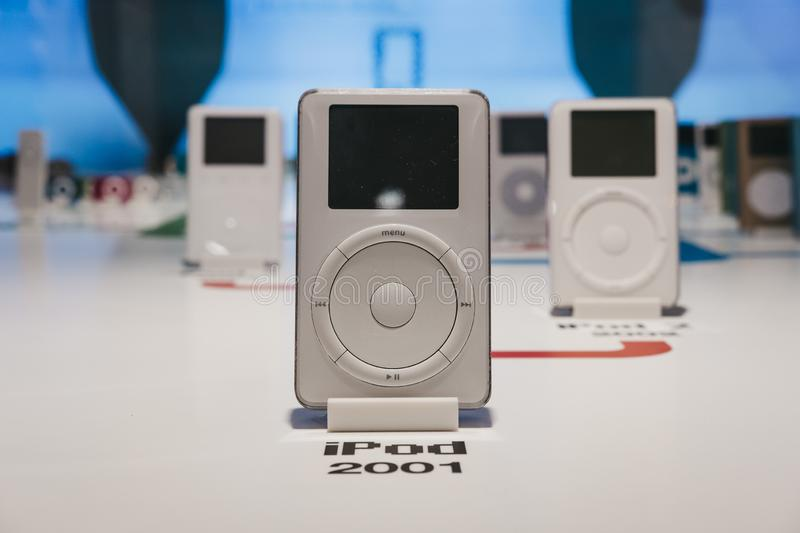 Range of iPods inside Apple Museum in Prague, Czech Republic. Prague, Czech Republic - August 28, 2018: Range of iPods inside Apple Museum in Prague, the largest royalty free stock image