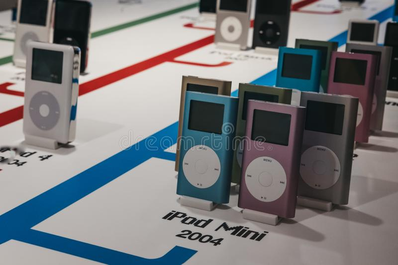 Range of iPods inside Apple Museum in Prague, Czech Republic. Prague, Czech Republic - August 28, 2018: Range of iPods inside Apple Museum in Prague, the largest stock photo