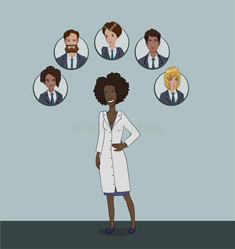 The range of patients attending General practitioner stock illustration