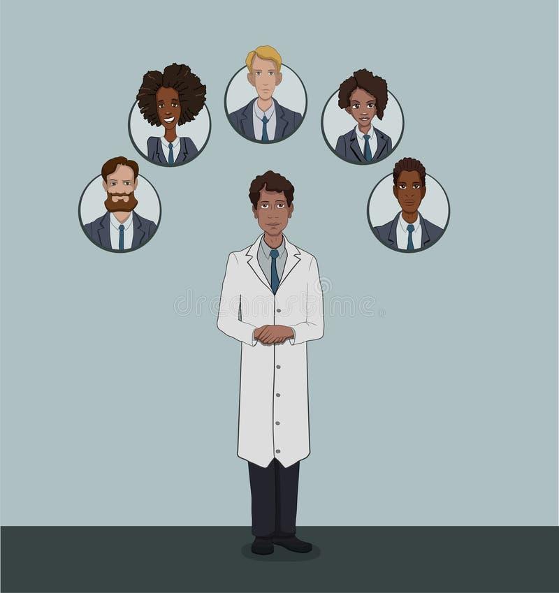 The range of patients attending General practitioner vector illustration