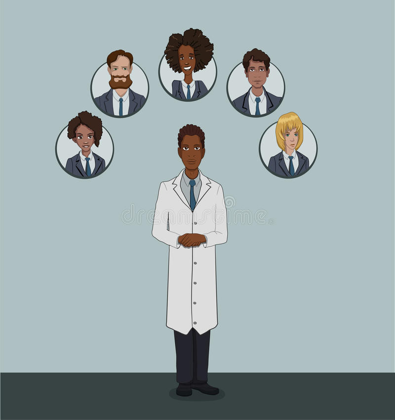 The range of patients attending General practitioner. Medical insurance social package for office workers in private clinics stock illustration