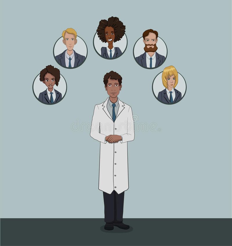 The range of patients attending General practitioner. Medical insurance social package for office workers in private clinics royalty free illustration