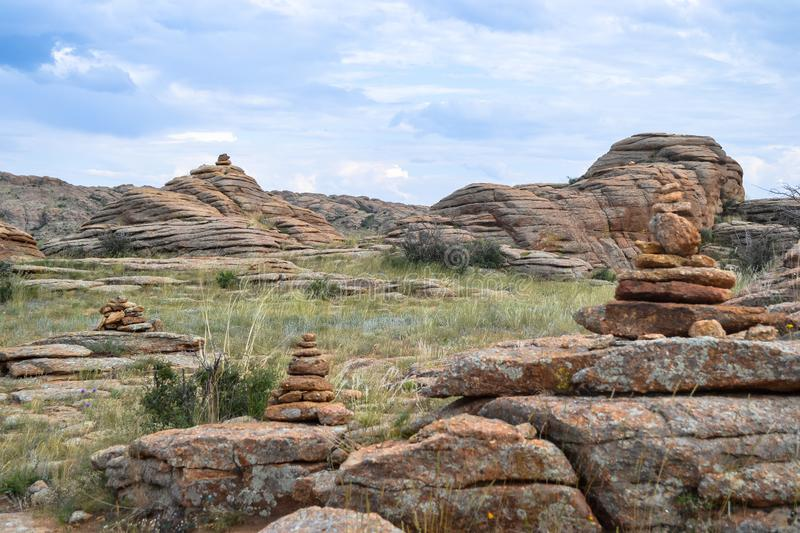 Range of stone mountains in southern of Mongolia. This picture is taken in Mongolia. This trip gives you a great opportunity to see all highlights of Mongolia stock image