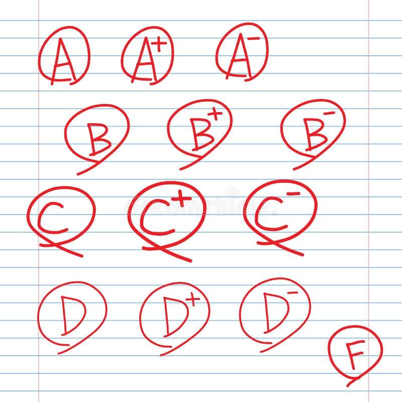 Rangen op school beslist bladdocument stock illustratie