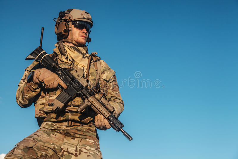 Ranger in the mountains. United states army ranger in the mountains royalty free stock photo