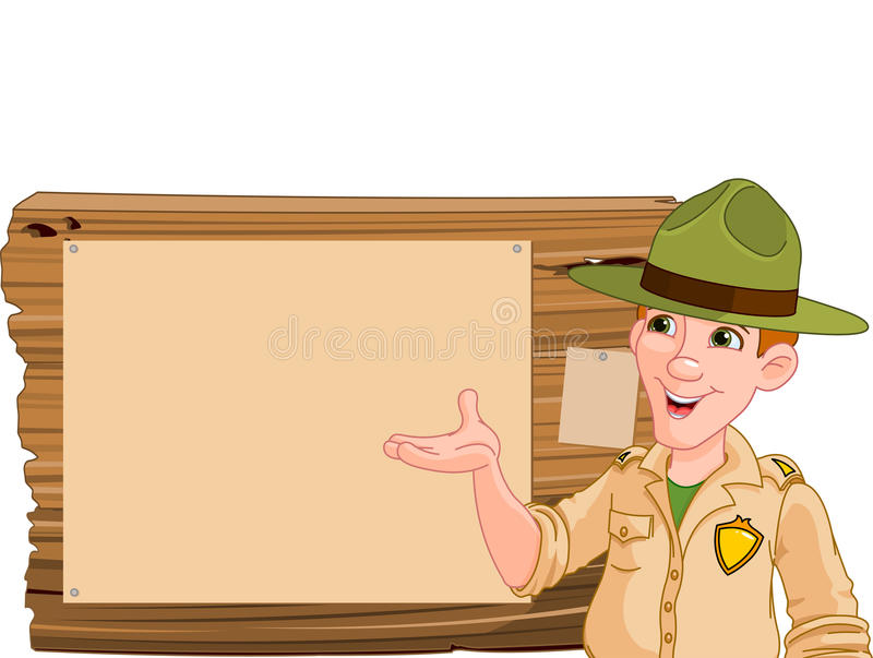 Ranger pointing at a wooden sign stock illustration