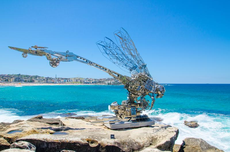 Rangerer ` is a sculptural artwork by Xia hang at the Sculpture by the Sea annual events free to the public sculpture exhibition. stock images