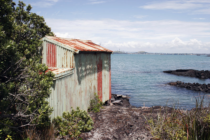 Rangitoto Insel-Boot verschüttete 02 stockfotografie