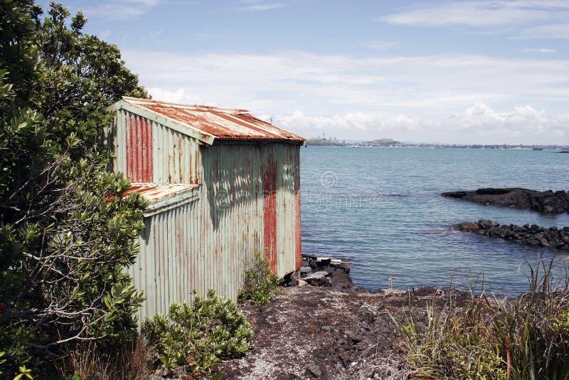 Rangitoto Island Boat Shed 02 stock photography