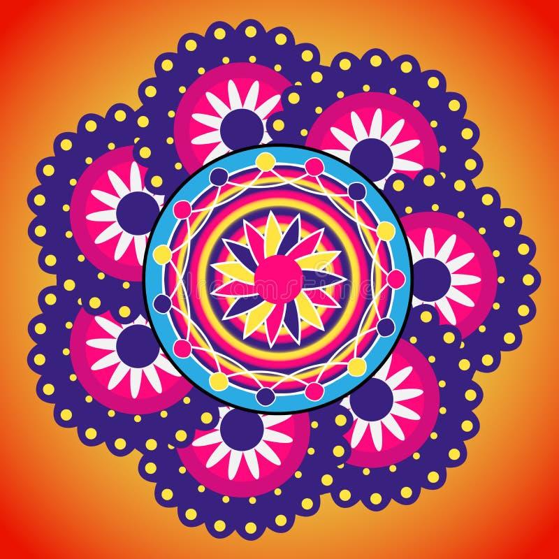 Rangoli设计 印第安装饰品 皇族释放例证