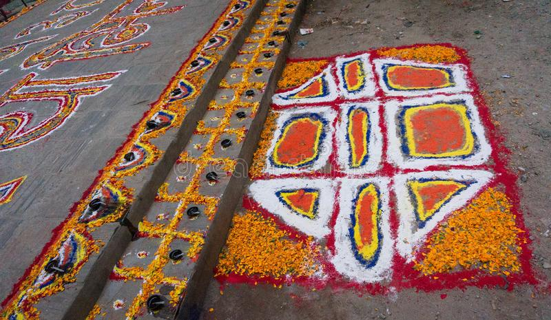 Rangoli bij het festival van Tihar Deepawali en Newari-Nieuwjaar in Kathmandy royalty-vrije stock afbeeldingen