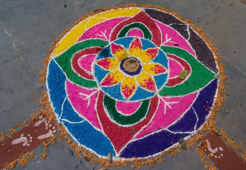 Rangoli bij het festival van Tihar Deepawali en Newari-Nieuwjaar in Kathmandy stock afbeelding