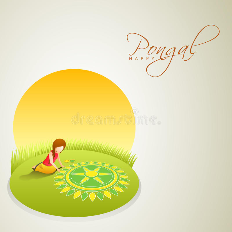 Rangoli for celebrating South Indian festival Pongal. vector illustration